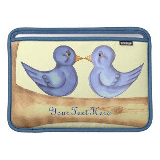 Pájaros del amor (azules) fundas para macbook air