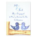 Pájaros del amor (azules) invitación 11,4 x 15,8 cm