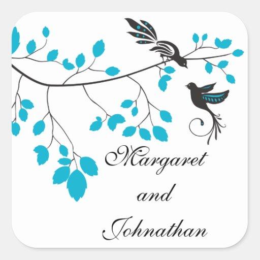 Pájaros del amor azules pegatina cuadrada