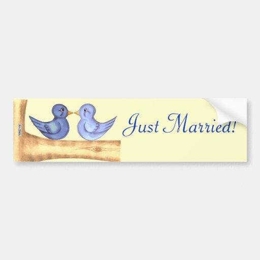 Pájaros del amor (azules) pegatina de parachoque