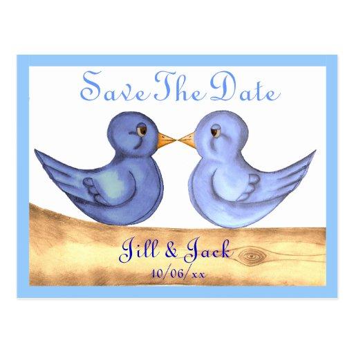 Pájaros del amor (azules) postal