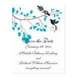 Pájaros del amor azules postal