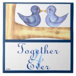 Pájaros del amor (azules) teja cerámica