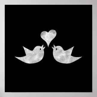 Pájaros del amor con color del personalizado del póster