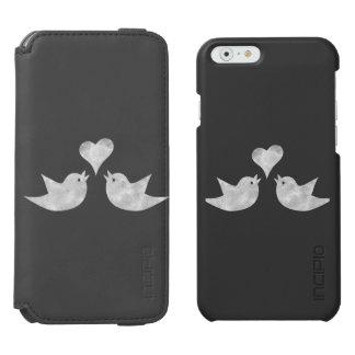 Pájaros del amor con el texto del personalizado funda billetera para iPhone 6 watson
