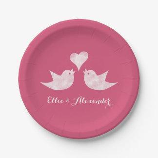 Pájaros del amor con el texto del personalizado platos de papel