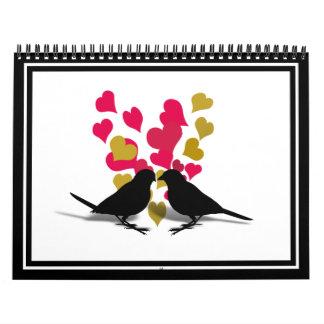 Pájaros del amor con los corazones del rojo y del calendarios de pared