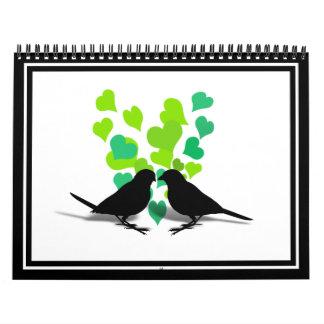 Pájaros del amor con los corazones verdes calendarios
