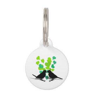 Pájaros del amor con los corazones verdes identificador para mascotas