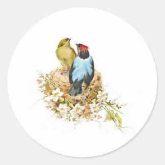 Pájaros del amor de la jerarquización del jardín pegatina redonda