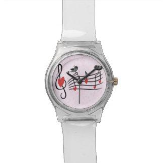 Pájaros del amor de la música en rosa relojes de pulsera