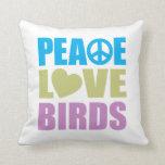 Pájaros del amor de la paz almohadas
