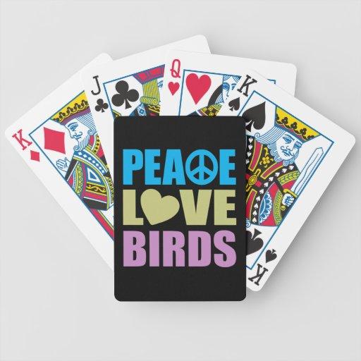 Pájaros del amor de la paz cartas de juego