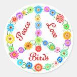 Pájaros del amor de la paz pegatina redonda