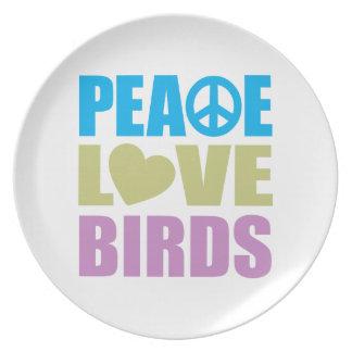 Pájaros del amor de la paz plato para fiesta