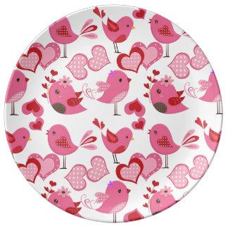 Pájaros del amor de la tarjeta del día de San Plato De Cerámica
