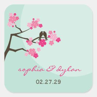 pájaros del amor de las flores de cerezo del pegatina cuadradas personalizadas