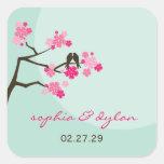 pájaros del amor de las flores de cerezo del pegatina cuadrada