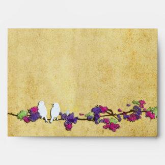 Pájaros del amor de PixDezines en rama rosada de l Sobre