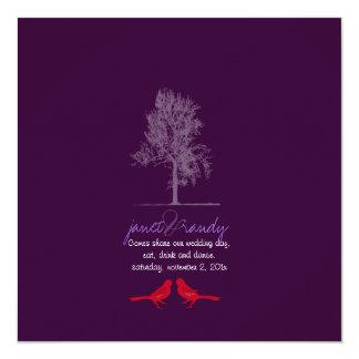"""¡Pájaros del amor de PixDezines, rojo, color del Invitación 5.25"""" X 5.25"""""""