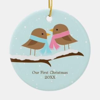 Pájaros del amor ornamentos para reyes magos