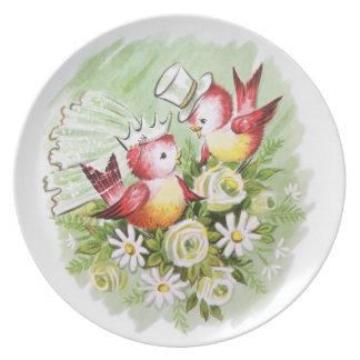 Pájaros del amor del boda plato para fiesta