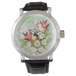 Pájaros del amor del boda reloj de mano