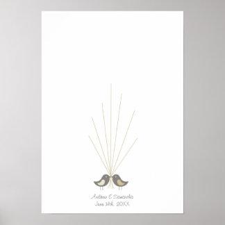 Pájaros del amor del Guestbook el | del boda de la Poster