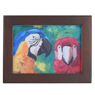 Pájaros del amor del loro caja de recuerdos