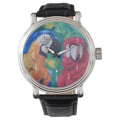 Pájaros del amor del loro relojes de mano