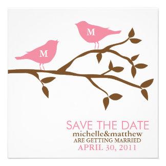 Pájaros del amor del monograma que casan reserva l invitacion personal