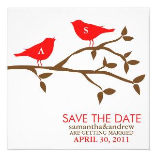 Pájaros del amor del monograma que casan reserva l comunicados