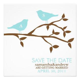 Pájaros del amor del monograma que casan reserva l invitación