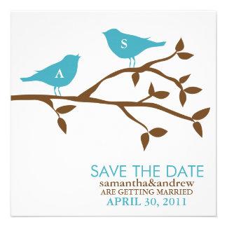 Pájaros del amor del monograma que casan reserva l invitaciones personales