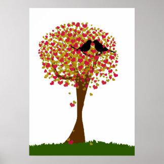 Pájaros del amor del otoño impresiones