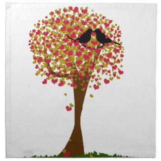 Pájaros del amor del otoño servilletas de papel