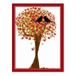 Pájaros del amor del otoño tarjeta postal
