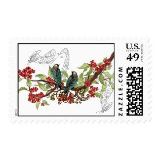 Pájaros del amor del vintage de las flores del franqueo