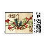 Pájaros del amor del vintage de las flores del sello