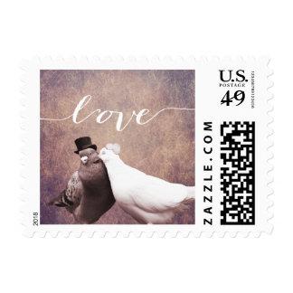 """Pájaros del amor del vintage del """"amor"""" que casan franqueo"""