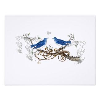 Pájaros del amor del vintage del azul real que cas