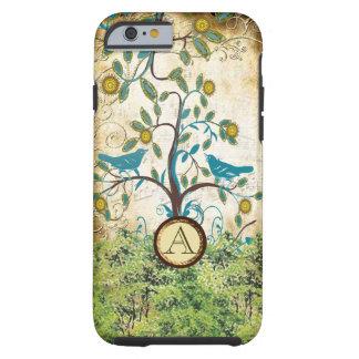 Pájaros del amor del vintage del monograma en un funda para iPhone 6 tough