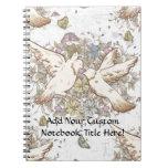 Pájaros del amor del vintage, dos palomas blancas  cuaderno