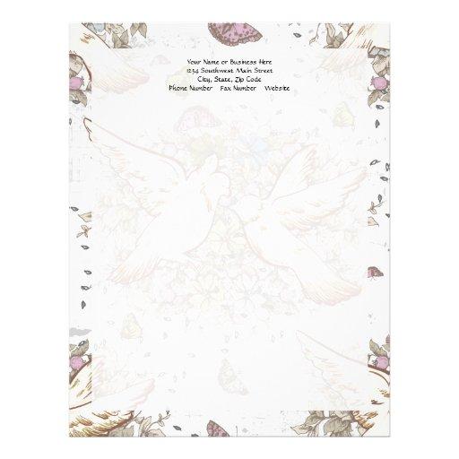 Pájaros del amor del vintage, dos palomas blancas  plantilla de membrete