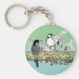 Pájaros del amor del vintage que casan la invitaci llavero