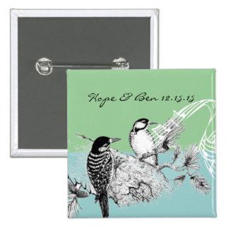Pájaros del amor del vintage que casan la pin cuadrado