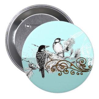 Pájaros del amor del vintage que casan la pin redondo de 3 pulgadas