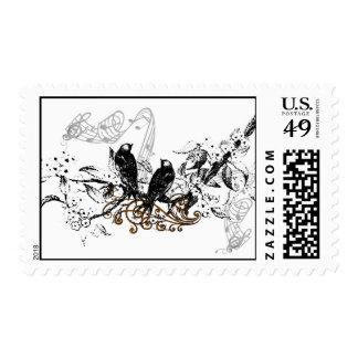 Pájaros del amor del vintage que casan la sellos