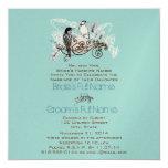 Pájaros del amor del vintage que casan las notas invitaciones personalizada