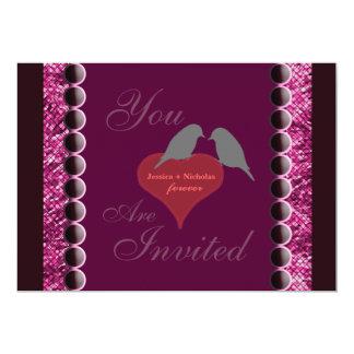 Pájaros del amor e invitación púrpura del boda de invitación 12,7 x 17,8 cm